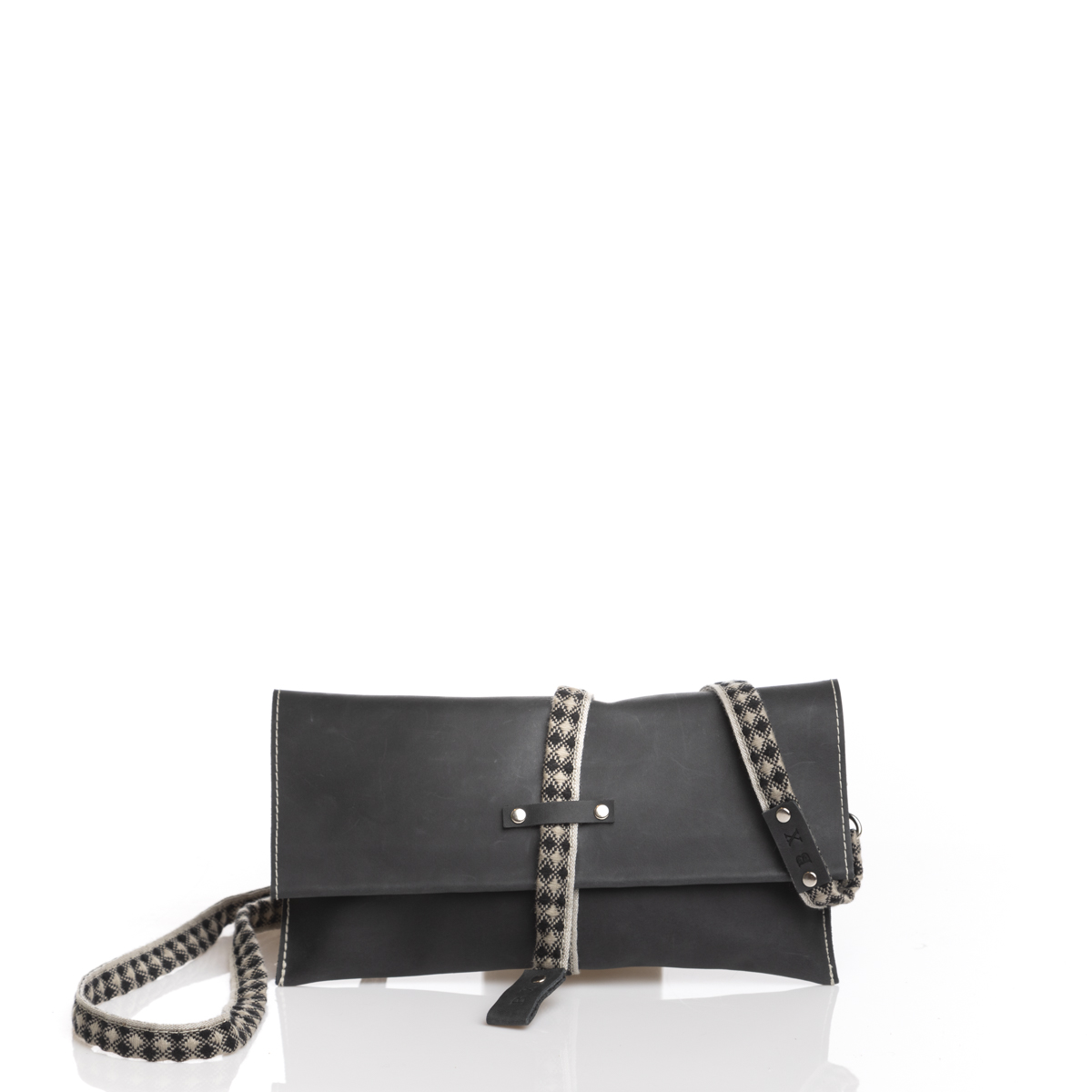 MINI BOSLO NEGRO DETALLES ÉTNICOS, MINI BAG BLACK & GRAY