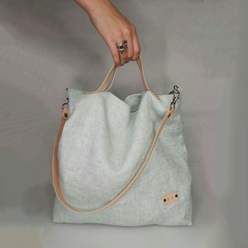 BOLSO bandolera turquesa, bolso lino, bolso turquesa, bolso lino doble posición, bandolera doble posición
